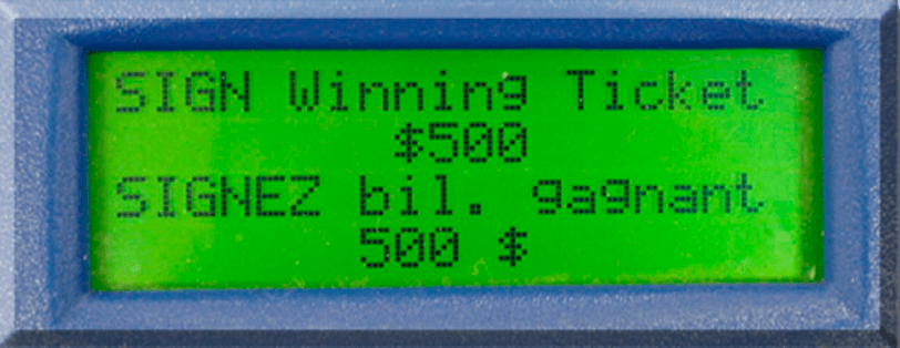 "Screen displaying ""SIGN Winning Ticket $500"" text"