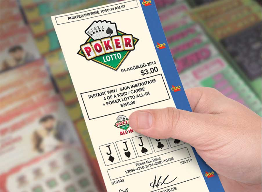 Hand holding POKER LOTTO ticket