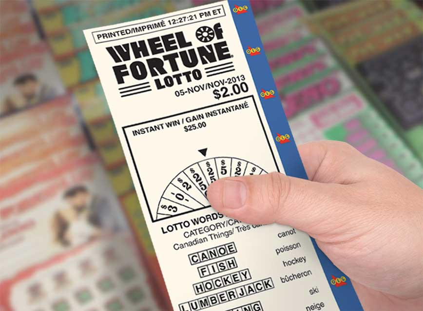Hand holding WHEEL OF FORTUNE® LOTTO ticket