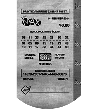 Black and white LOTTO MAX ticket in graphic circle