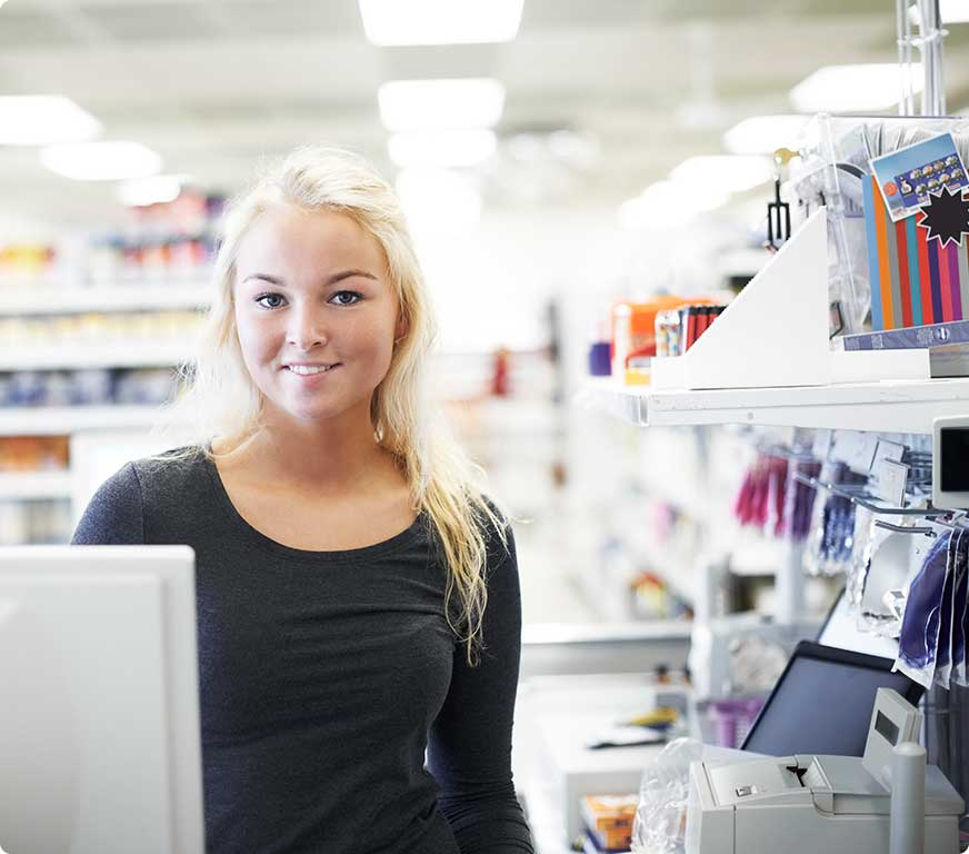 Woman smiling in retail setting