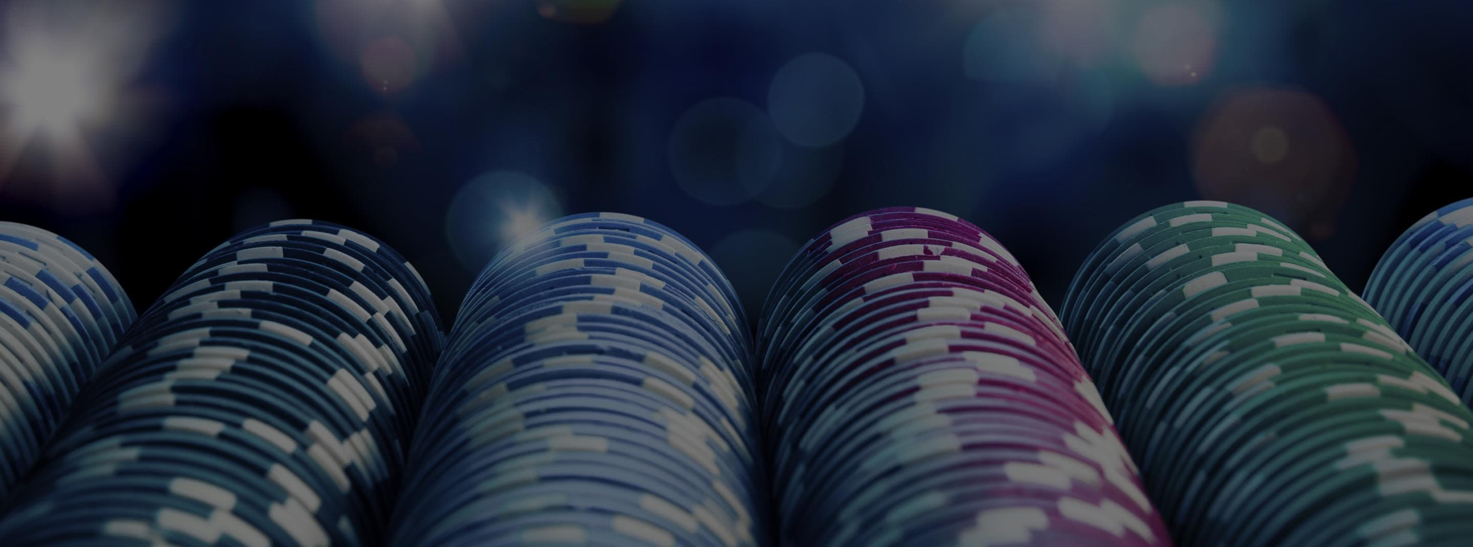 Rows of poker chips