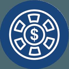 Icône bleue avec casino