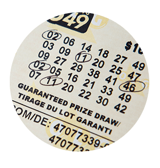 LOTTO 649 ticket with five numbers circled