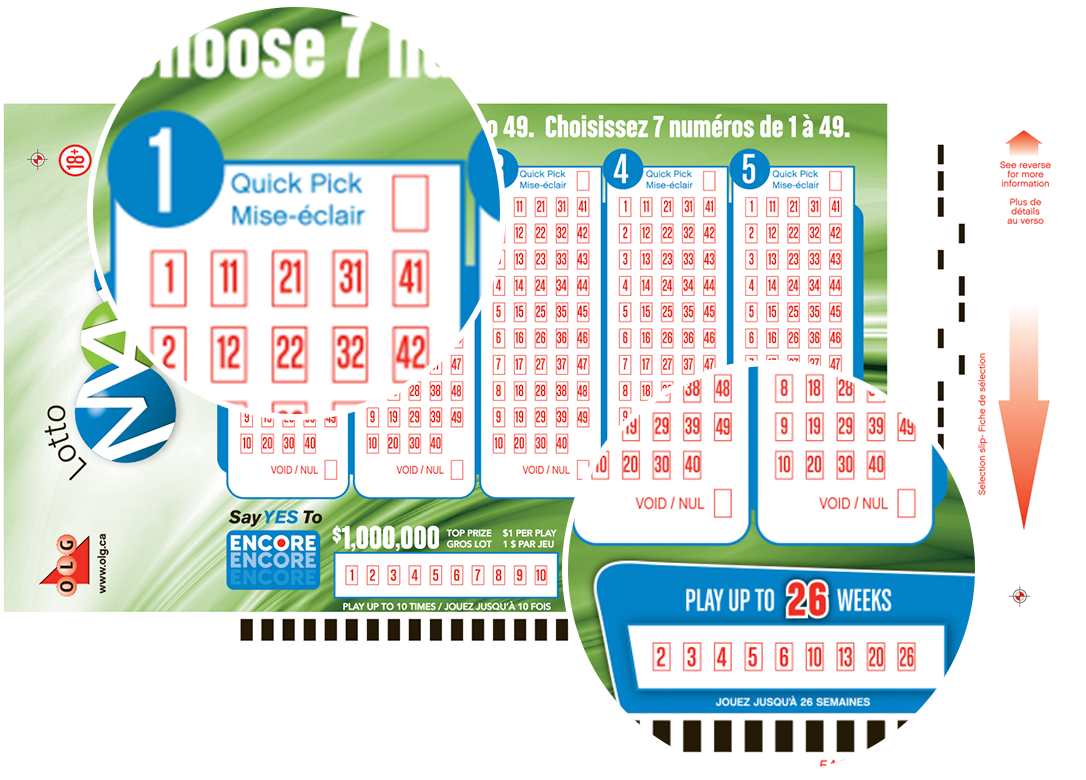 Close-up of LOTTO MAX Quick Pick Selection Slip numbers
