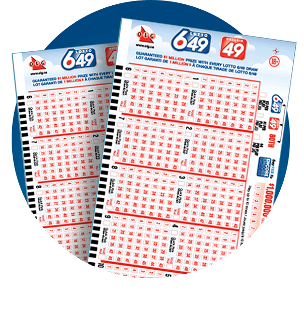 Two LOTTO 649 Selection Slips in graphic circle