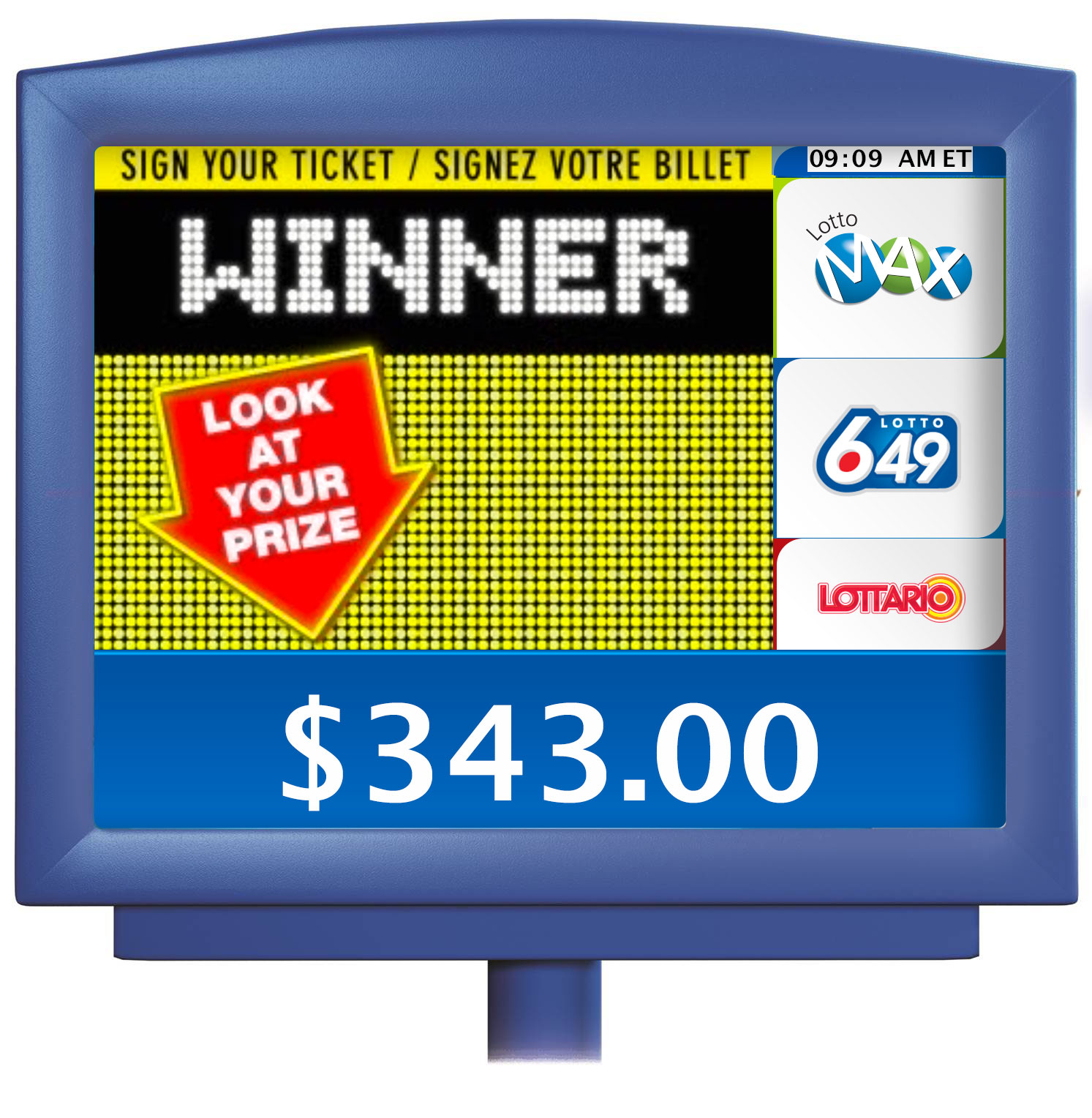 "Customer display screen showing ""WINNER"""