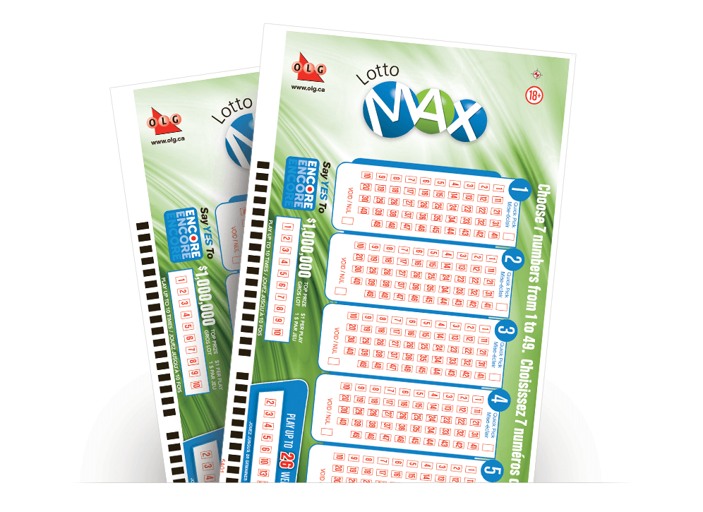 Two LOTTO MAX Selection Slips