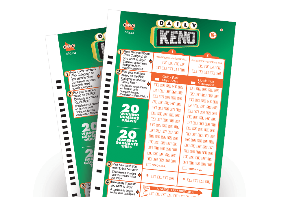 Two DAILY KENO Selection Slips