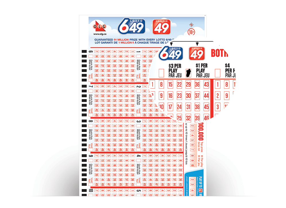 Close-up of LOTTO 649/ONTARIO 49 Selection Slip with numbers selected