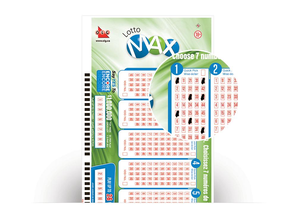 Gros plan de numéros Multi-mise sur une fiche de sélection de LOTTO MAX