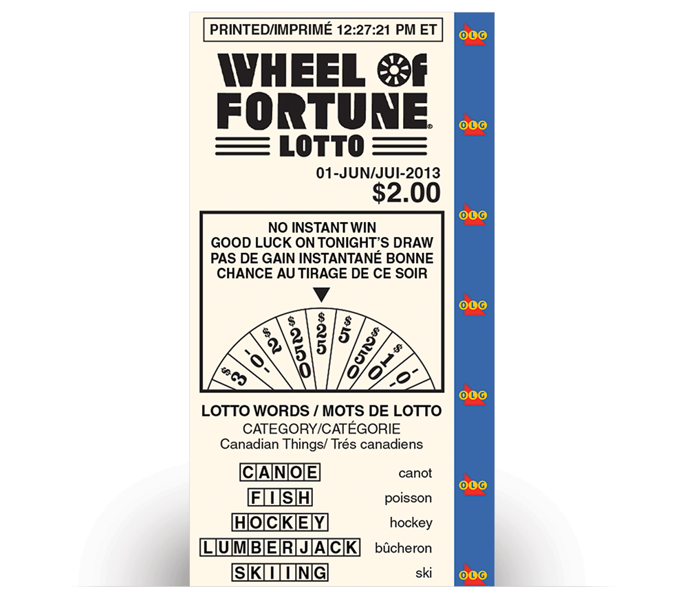 WHEEL OF FORTUNE® LOTTO Non-Winning ticket customer receipt
