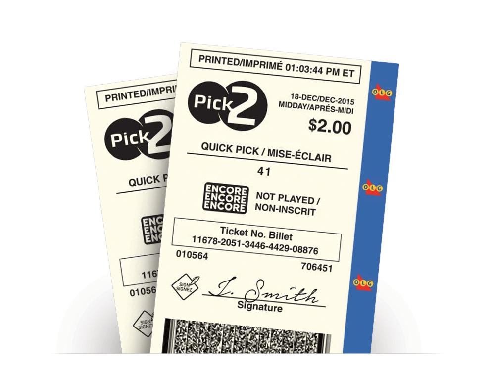 Two PICK 2 Quick Pick tickets