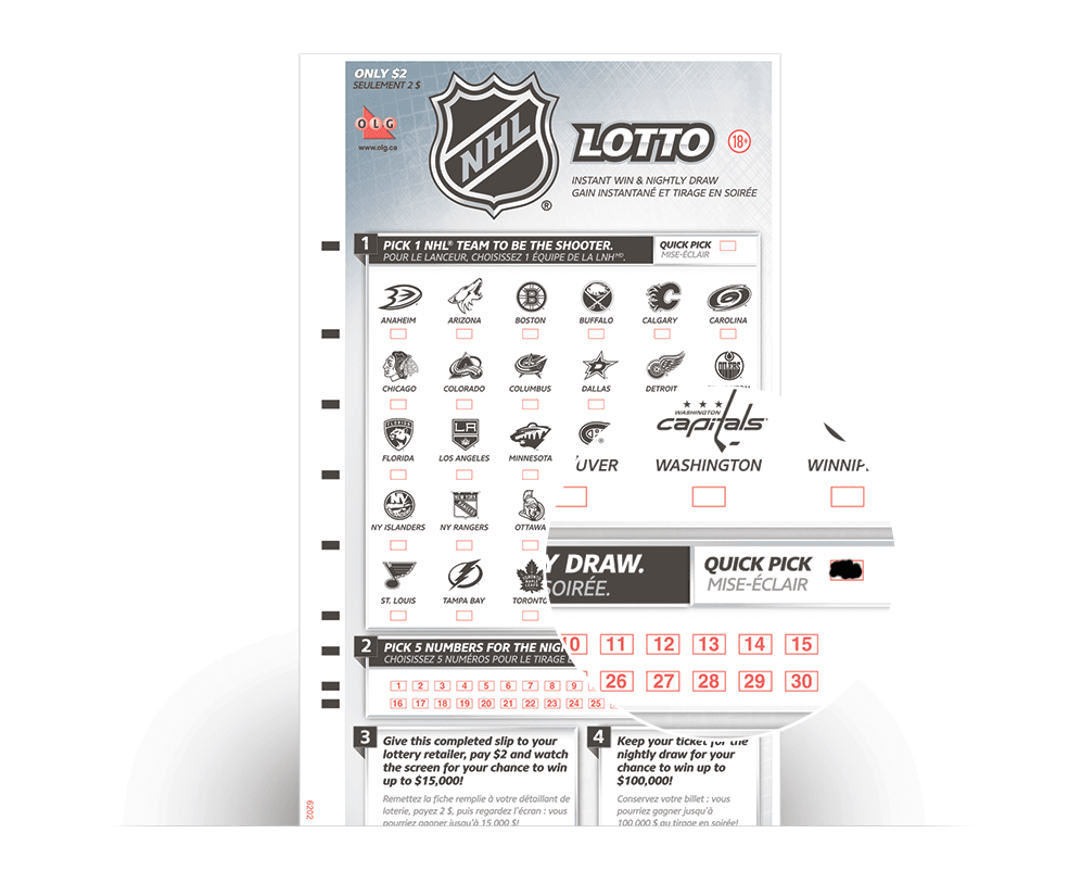 NHL® LOTTO Selection Slip with Quick Pick selected