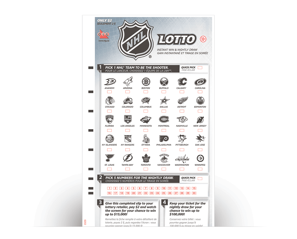 NHL® LOTTO Selection Slip