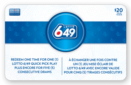 Front of LOTTO 649 Gift Card