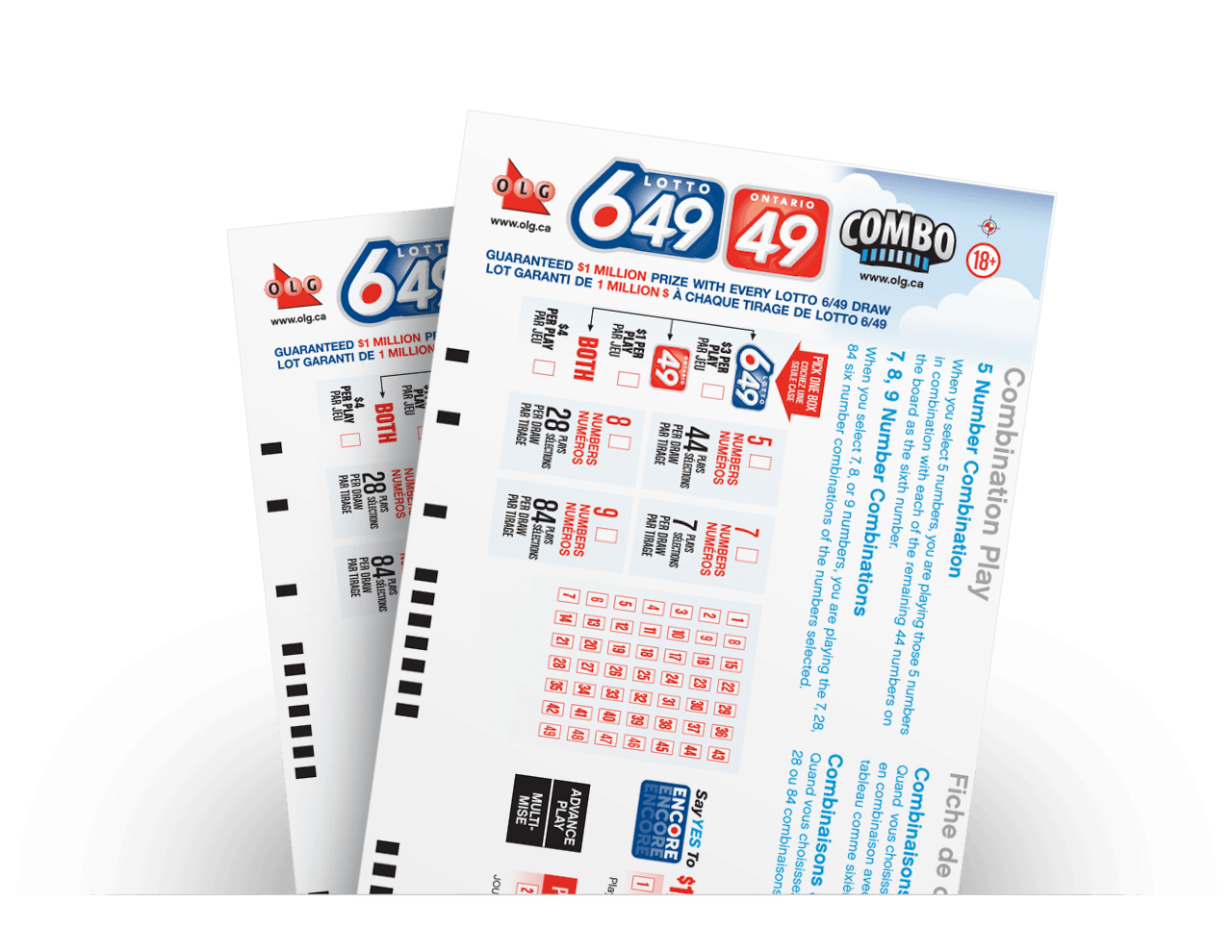 Close-up of LOTTO 649/ONTARIO 49 Advance Play numbers selected