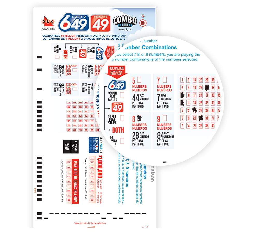 Multi chance keno keno plus how to play object of game winning numbers - Close Up Of Lotto 649 Ontario 49 Selection Slip With Numbers Selected