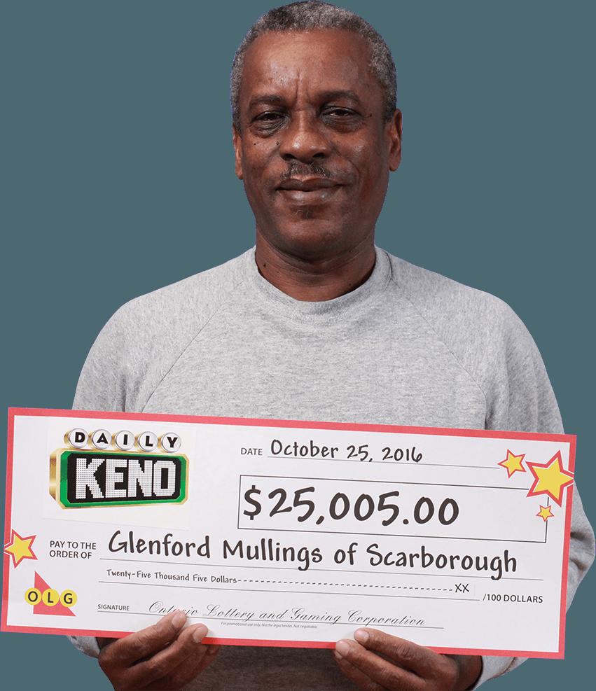RECENT Daily Keno WINNER - Glenford Mullings