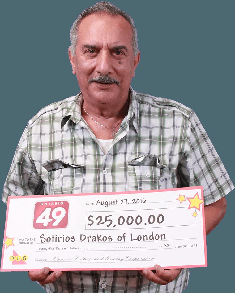 RECENT Ontario 49 WINNER - Sotirios Drakos