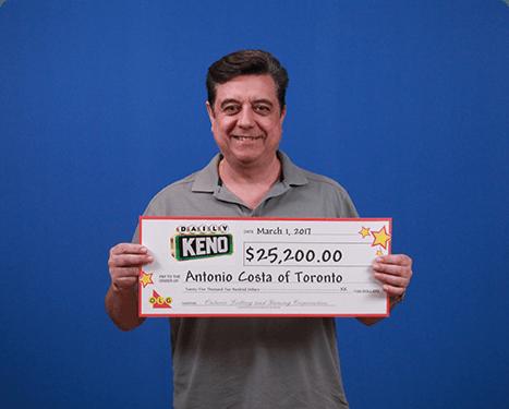 RECENT Daily Keno WINNER - Antonio Costa
