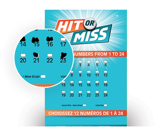Close-up of HIT OR MISS Selection Slip numbers