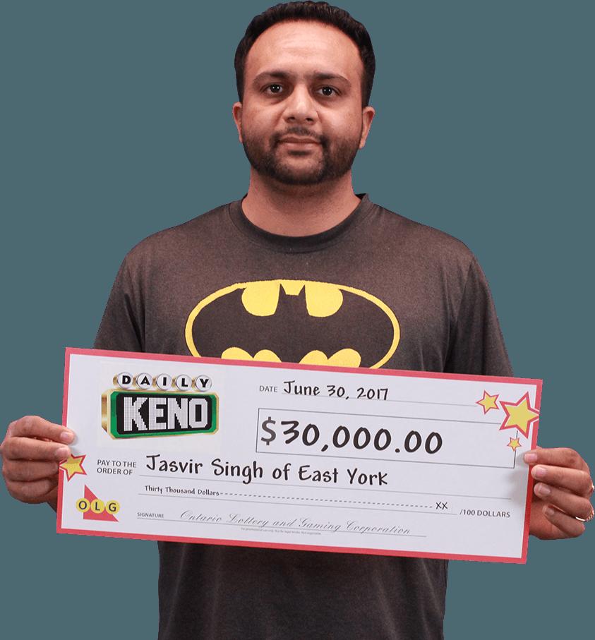 RECENT Daily Keno WINNER - Jasvir Singh