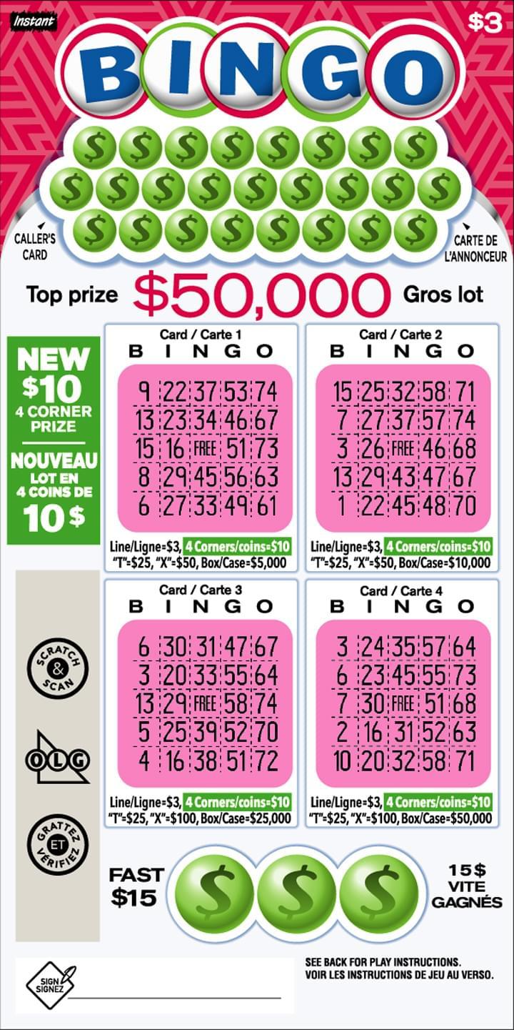 Instant Bingo ticket