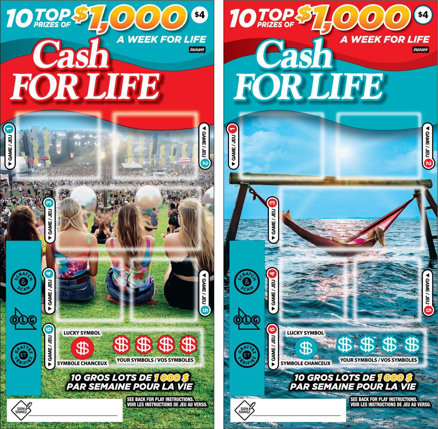 Deux billets Cash For Life 1174