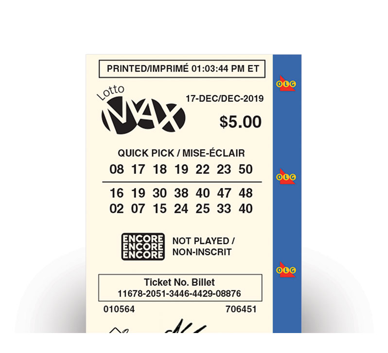 LOTTO MAX Quick Pick ticket
