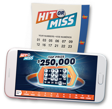 Overhead shot of an OLG Hit or Miss ticket and a smartphone displaying the OLG Hit or Miss mobile app on the screen