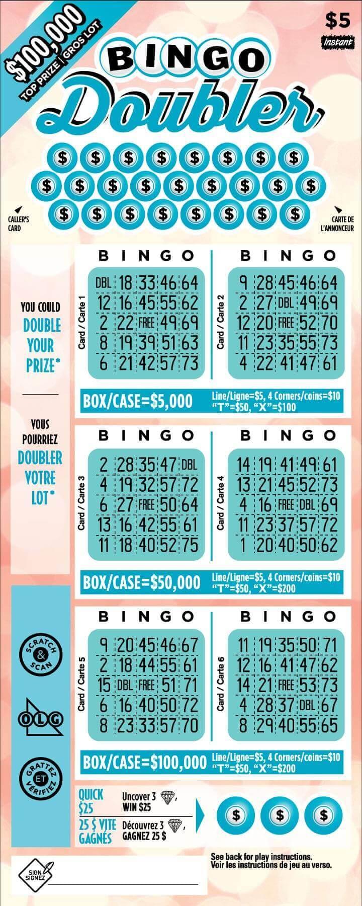 olg bingo doubler lottery ticket