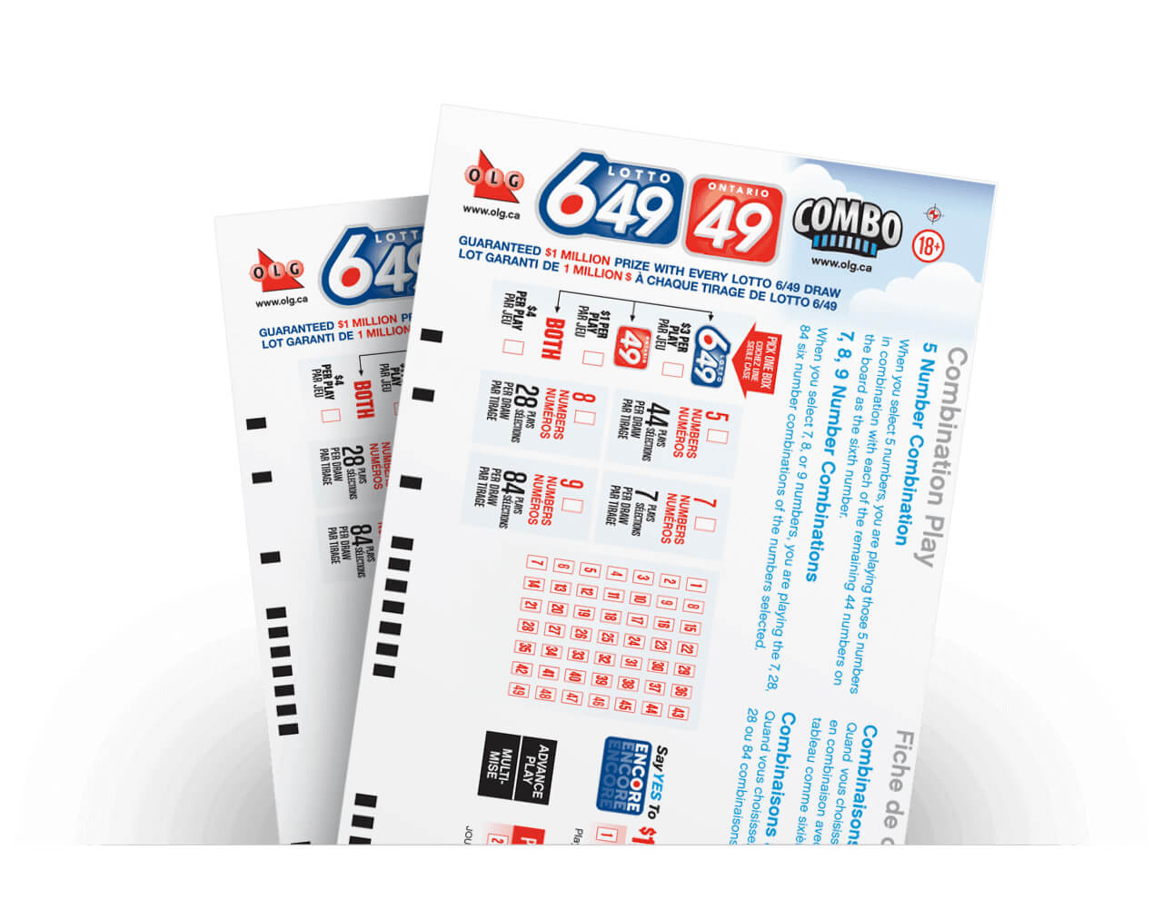 olg lotto 649 and ontario 49 combo lottery ticket