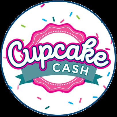 olg cupcake cash logo on circular badge