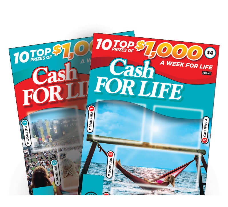 two olg instant cash for life lottery tickets