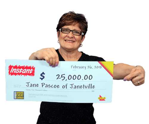 woman holding 25,000 cheque from winning instant 2018