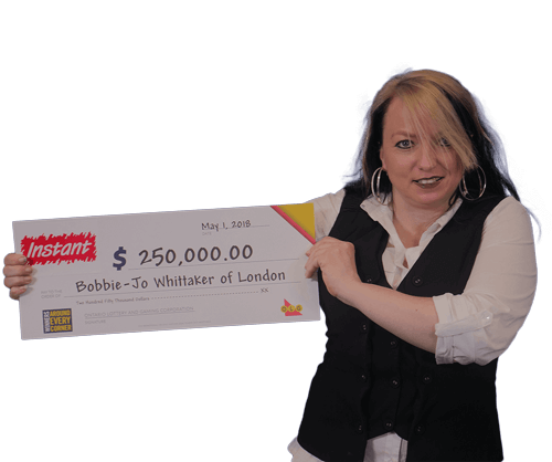 woman holding 250,000 dollar cheque from instant 2018
