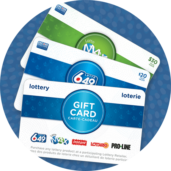 olg lottery gift cards on circular badge