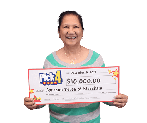woman holding 10,000 cheque from winning pick four