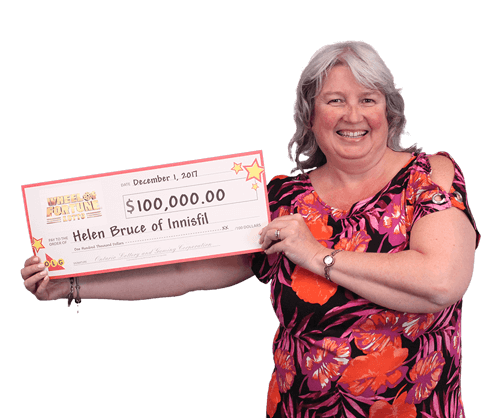 woman holding 100,000 dollar cheque from wheel of fortune lotto